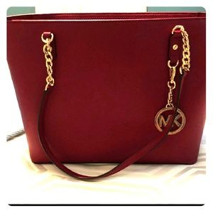 NWOT Red Leather Michael Kors Tote Bag